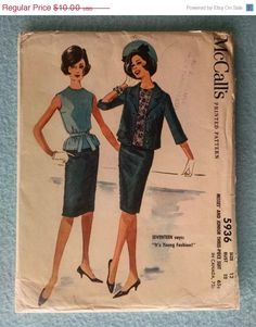 1961 Vintage McCalls Misses and Junior Three-Piece Suit Pattern - Size 12 Part Cut, Complete Sleeveless Blouse Slim Skirt Lined Jacket $10.00