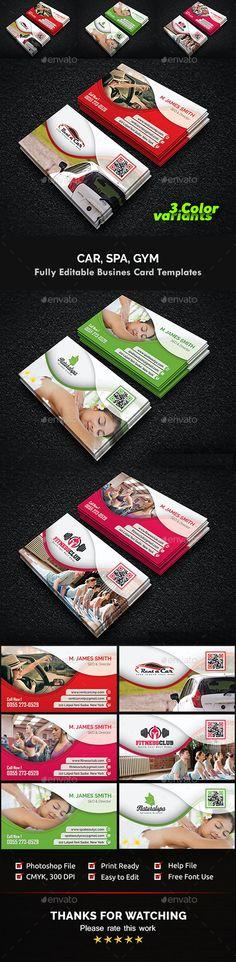 Gym, Spa & Car Business Card Templates by CreativeInnovation | GraphicRiver