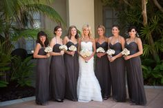 Amsale bridesmaids dresses- grey- love the grey.. needs a pop of yellow!