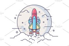 Startup Space Rocket by Space rocket. Technology spaceship, science and shuttle, startup business. Line vector illustration Vector files, fully editable. Space Illustration, Flat Design Illustration, Business Inspiration, Graphic Design Inspiration, Rockets Logo, Rocket Design, Space Rocket, Start Up Business, Business Launch