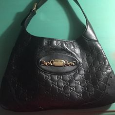 Leather Gucci Medium Hobo Guccissima Bag Black leather Gucci Monogram shoulder bag, rarely used in great condition. Gucci Bags Shoulder Bags