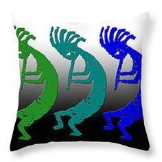"""Kokopelli Rainbow in Moonlight Throw Pillow 14"""" x 14"""""""