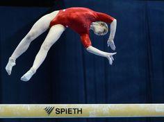 Diapo sport - La Russe Aliya Mustafina lors des championnats dEurope de gymnastique artistique, le 19 avril à Moscou.