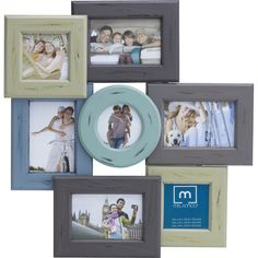 """See this and similar frames - Hang this 7-opening collage frame for a simple way to showcase your favorite memories on your gallery wall. three 4x4"""" and four 4x..."""