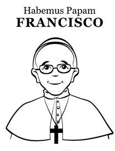 Simple coloring page of Pope Francis