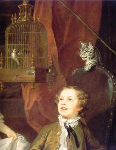 detail of the cat from The Graham Children by William Hogarth