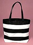 Black and white striped canvas bag beach bag by PartySurprise, $19.95