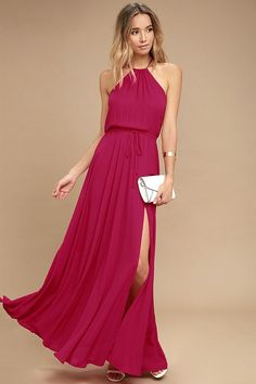 Be the foremost authority in comfy fashion with the Essence of Style Berry Pink Maxi Dress! A tying apron neckline with back cutout tops a drawstring waist, and flowy maxi skirt with side slit.