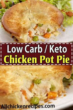Keto Chicken Pot Pie - This low carb chicken pot pie is the ultimate comfort food because it has the amazing flaky crust and the filling is so creamy and delicious perfect for a great weeknight meal. Healthy Low Carb Recipes, Low Carb Dinner Recipes, Ketogenic Recipes, Diet Recipes, Keto Dinner, Ketogenic Diet, Ketogenic Breakfast, Dessert Recipes, Soup Recipes