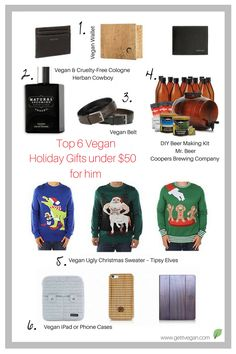 Top 6 Vegan Holiday Gifts for Him Under $50 Social Topics, Tipsy Elves, Beer Company, Vegan Gifts, Ugly Christmas Sweater, Gifts For Him, Holiday Gifts, 50th, Presents