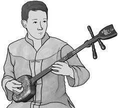 dan tam  / dantam player / Vietnamese musical instrument / Grayscale images