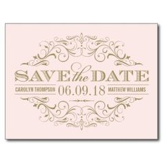 Blush Pink Gold Save the Date | Swirl and Flourish Postcards