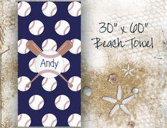 Baseball Personalized Beach Towel 30x60