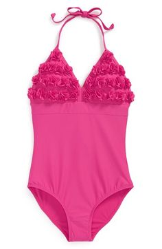 Limeapple+'Maya'+Floral+Appliqué+One-Piece+Swimsuit+(Little+Girls+&+Big+Girls)+available+at+#Nordstrom