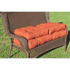 Blazing Needles Outdoor Wicker Settee Cushions (Set of 3) Color: Papprika