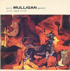 "Gerry Mulligan Quartet featuring Chet Baker - Pacific Jazz 1207   [12"" LP] 1955  Design- William Claxton   Art- Keith Finch"