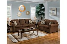 2 Pc Flat Suede Chocolate Sofa & Love Set - Microfiber/Fabric Sets - Living Rooms