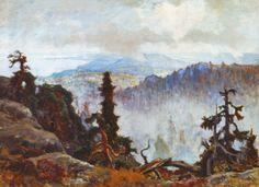 """""""Eveneing Mist in Koli"""" 1928 - """"Iltausva Kolilla"""" by Eero Järnefelt - Järnefelt teki ensimmäisen matkansa Kolille ja Karjalan korpiin yhdessä vaimonsa Saimin,Venny Soldan-Brofeldtin ja Juhani Ahon kanssa 1892.Kolille Eero palasi yhä uudelleen - sekä taiteessaan että arkielämässään.Sinne hän matkusti 1909 yhdessä lankonsa, säveltäjä Jean Sibeliuksen kanssa - myöhemm.Sibelius omistikin neljännen sinfoniansa Eerolle."""