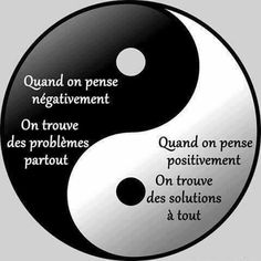 Ying Yang When you think negatively you find problems everywhere. When you think positively you find solutions to everything Yin Yang, Positive Attitude, Positive Vibes, Solution Focused Therapy, Zen Meditation, French Quotes, French Lessons, Yoga Quotes, Learn French
