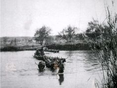Dorsland Trekkers crossing a river in Angola Trek, River, Painting, Painting Art, Paintings, Painted Canvas, Rivers, Drawings