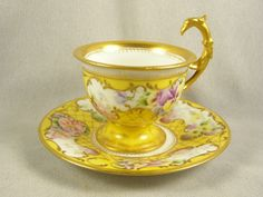 Vintage Rosenthal Hand Painted Ornate Tea Cup and Saucer - Raised Gold Accents