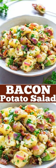 Bacon Potato Salad - There's NO MAYO in this easy potato salad that's loaded with BACON corn red onions and tossed with a flavorful dijon dressing! Always a FAVORITE at picnics potlucks parties and events! Bacon Recipes, Salad Recipes, Cooking Recipes, Healthy Recipes, Caramel Recipes, Fruit Recipes, Cooking Tips, Potato Dishes, Vegetables