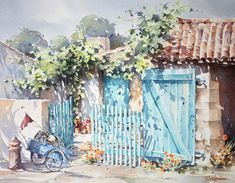"Photo from album ""Christian Graniou"" on Yandex. Watercolor Artwork, Watercolor Landscape, Watercolor Illustration, Art For Art Sake, Toulouse, Art Sketchbook, Art Pictures, Art Lessons, Painting & Drawing"