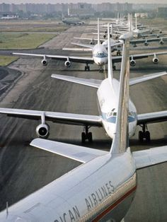 Planes stacked up at JFK airport, New York, 1968 - Though this is a older picture you can bet this never happens with our company. Why? Air Ambulance flights are private in the first place and even for commercial stretcher flights with medical escorts, those flights get precedence over other flights meaning no waiting.