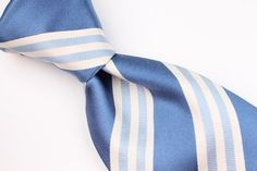 $225+ BRIONI Blue Beige Striped mens Silk Tie #Brioni #Tie