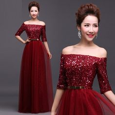 Sexy Boat Neck Off The Shoulder Women Formal Dresses, Sequined Evening Dresses, Elegant Red Long Sleeve Prom Dresses For Evening Party