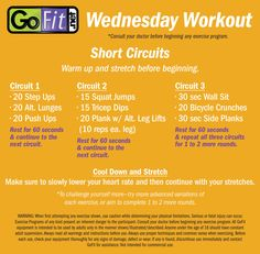 ‪#‎WednesdayWorkout‬  Short Circuits! Rest for 60 seconds between each circuit and complete 2 to 3 rounds of the full workout. ‪#‎circuittraining‬ ‪#‎noequipmentnecessary‬