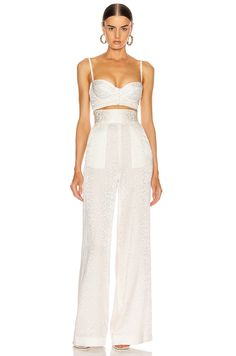Dundas Wide Leg Leopard Pant in White Party Fashion, Runway Fashion, Fashion Outfits, Womens Fashion, Bustier Top Outfits, Bustier Dress, Ashley Clothes, Leopard Pants, Looks Chic