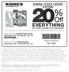 Coupon Policy: Redeeming coupons is as easy as showing your mobile device in-store, or applying a coupon code online. Four coupon codes can be used per order, including a combination of percent-off, Kohl's cash, dollar-off and free shipping coupons.