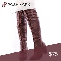 Dark brown over the knee high boots You don't wanna miss out on these perfect fall/winter boots 😍😍. Brand new in the box beautiful over the knee high boots. Dark brown, faux leather (but have a suede feel to it) . Heel height: 3.25 inches. Brand is forever. The zip up from the side & the laces are adjustable. They run true to size. •PRICE IS FIRM• Forever Shoes Over the Knee Boots