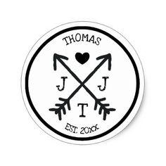 Rustic Initial Heart Arrow Monogram Classic Round Sticker