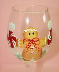 Hand Painted Wine Glass Gingerbread by BrushStrokeBoutique