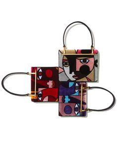 Cubist Velvet Top Handle Bag