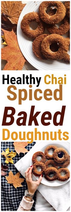 Chai Spiced Baked Doughnuts for a healthy vegan and gluten free dessert or snack Chai Spiced Baked Doughnuts for a healthy vegan and gluten free dessert or snack Quick Healthy Desserts, Healthy Vegan Snacks, Vegan Sweets, Vegan Desserts, Delicious Desserts, Healthy Doughnuts, Baked Doughnuts, Fall Recipes, Sweet Recipes