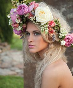 flower head piece  Not even a hippy would wear that in San Francisco!  Oh, the shame of it!