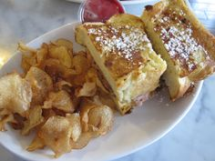 Monte cristo with homemade brioche French toast at The Blue Door Cafe & Bakery in Cuyahoga Falls, OH
