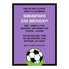 Shop Soccer Ball Birthday Party Invitations created by printcreekstudio. Soccer Birthday Parties, Birthday Themes For Boys, Sports Birthday, Birthday Party Themes, Boy Birthday, Soccer Party, Sports Party, Soccer Inspiration, Purple Birthday