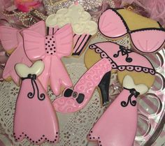 Paris Pink Black White Decorated Sugar Cookies by AlisSweetTooth, $29.00
