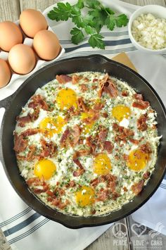 Creamy Herbed Bacon and Egg Skillet – Low Carb, Gluten Free I'd have to make a few substitutions...