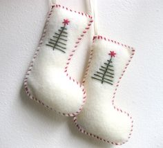 Christmas ornaments pair of stockings in white felt - Christmas stockings felt ornament. $10.00, via Etsy.