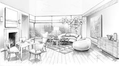 A black and white rendering of Waldo Fernandez's living room Interior Design Sketches, Interior Rendering, White Interior Design, Sketch Design, Interior Design Drawing, Interior Architecture, Home Building Design, One Point Perspective, Perspective Sketch