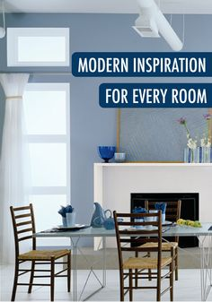 Love the look of streamlined furniture, simplistic accents, and an open, airy space? Then this collection of modern inspiration for every room of your home is perfect for you. Recreate this dining room makeover with BEHR paint in Glacial Stream.