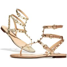 Valentino Rockstud Ankle-Wrap Thong Sandal ($1,030) ❤ liked on Polyvore featuring shoes, sandals, metallic flats, flat sandals, ankle wrap sandals, leather flats and ankle strap sandals