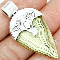 Mexican Laguna Lace Agate 925 Sterling Silver Pendant Jewelry LLAP857 - JJDesignerJewelry
