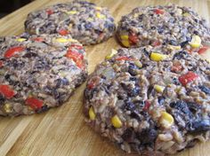 Not your typcial burger. These are made with black beans, corn, red peppers, rice, garlic, cilantro, onions, and spices. Much cheaper than store bought...and healthier.