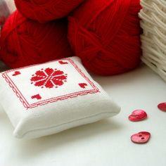 pincushion redwork cross stitch by BelaStitches on Etsy, $12.00